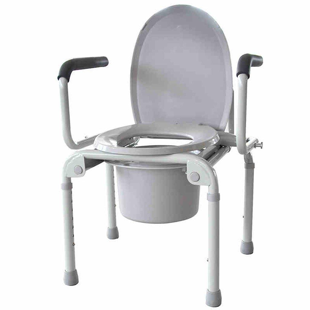 Shariv-シャワーチェア トイレシート/厚めのスチールパイプノンスリップバスチェア/高齢者の妊娠中の女性の折り畳み式トイレシート付きトイレ B07DRB8HP7