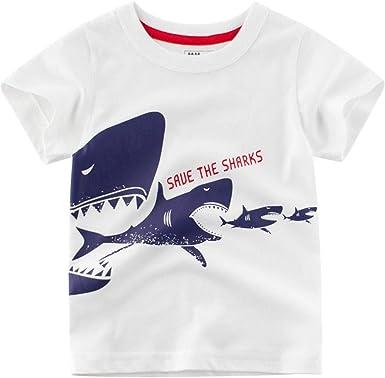 27 KIDS Camiseta Infantil De Algodón De Dibujos Animados para Niños Y Niñas Camisa De Manga Corta con Cuello Redondo, Camiseta De Manga Corta para Niños, Camiseta Blanca, 140: Amazon.es: Ropa y