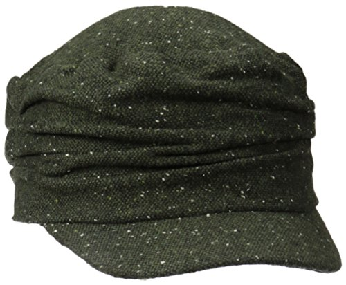 D&Y Women's Marled Ruched Cadet Hat, Olive, One Size
