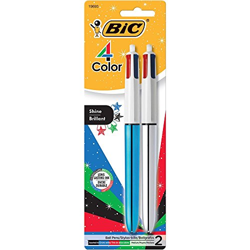 BIC 4-Color Shine Ball Pen, Medium Point (1.0 mm), Metallic Barrel, Assorted Inks, 2-Count