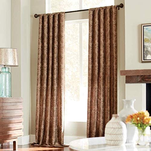 Style Selections Raja 84-in Mocha Polyester Rod Pocket Light Filtering Standard Lined Single Curtain Panel