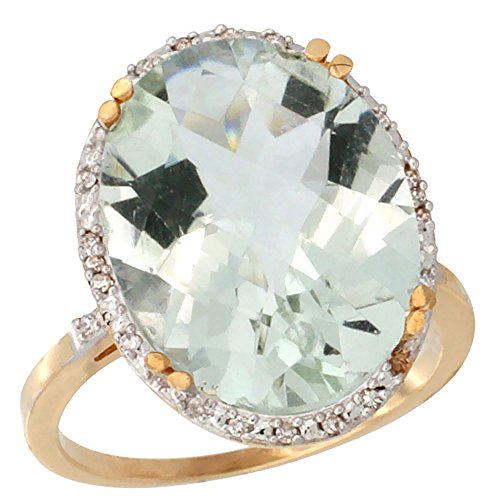 10k Yellow Gold Diamond Halo Genuine Green Amethyst Ring Large Oval 18x13mm size 10 Large Oval Amethyst Ring