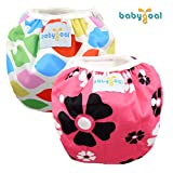 Babygoal One Size Reuseable Washable Adjustable Swim Diapers 2pcs Swim diaper, Swimming diaper, Swimming nappy,2SWF03-CA