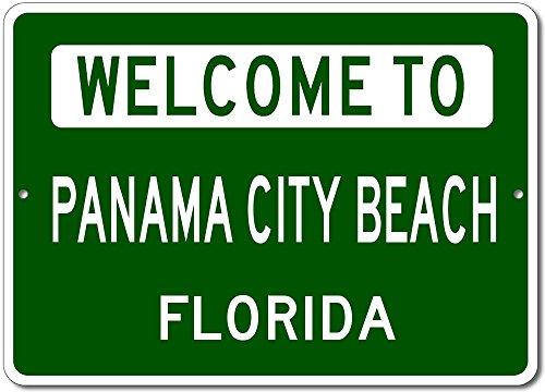 Welcome to PANAMA CITY BEACH, FLORIDA - City State Custom Rectangular Aluminum Sign - Green - - Beach Shops Panama City