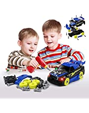 2-in-1 Take Apart Racing Car DIY Toys 26 PCS STEM Building Learning Assembly Construction Toys with Electric Drill Tools Lights and Sounds Gifts for Kids Boys Girls Age 3 4 5 6 7 8