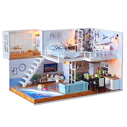 (aug-ust Miniature House 3D Wooden DIY House Furniture LED Puzzle Decorate Creative Gift Mini Home Decor Model)