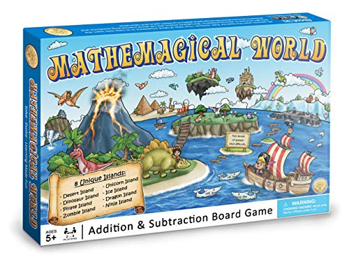 Mathemagical World - Addition & Subtraction Math Board Game for Kids, Ages 5+ and Perfect for Homeschool, Kindergarten, Pre-k, and Gifted & Talented Prep
