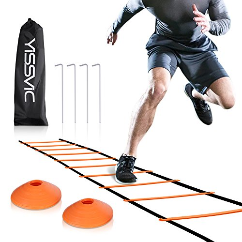 (YISSVIC Agility Ladder and Cones 20 Feet 12 Adjustable Rungs Fitness Speed Training Equipment + 20 Feet Speed Agility | 1 Carry Bags + 10 Cones + 4 Stakes | Basketball, Soccer, Football (Orange) )