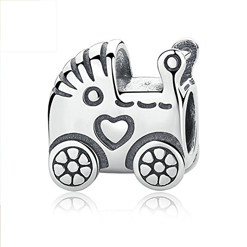 BEAUTY Baby Carriage 925 Sterling Silver BABY PRAM Charm For Bracelet