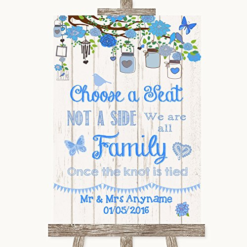 Blue Rustic Wood Choose A Seat We Are All Family Personalized Wedding Sign