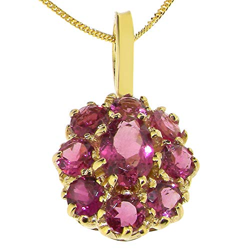 (Womens Solid Yellow 10K Gold Natural Pink Tourmaline Large Cluster Pendant Necklace with 20