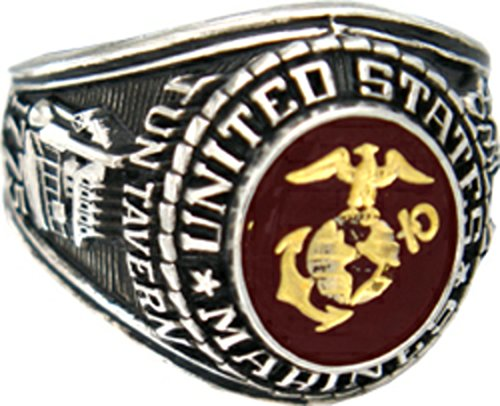 Rhodium Plated Brass Ring - HMC U.S. Marine Corps Ring (9, rhodium-plated-brass)