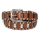Search : AK6037-BRN - Toneka Men's Casual Steampunk Studded Brown Full grain Leather Link Belt