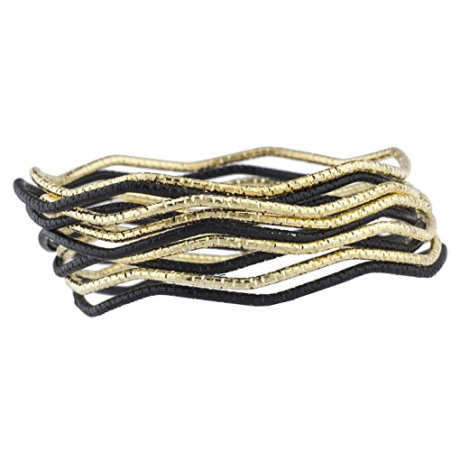 Lux Accessories Black Gold Tone Wavy Diamond Cut Womens Fashion Bangle Set 10PC