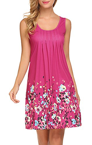 LuckyMore Womens Casual Fit and Flare Floral Sleeveless Dress Beach Short Dress Rose,XL (Walking Shorts Rose)