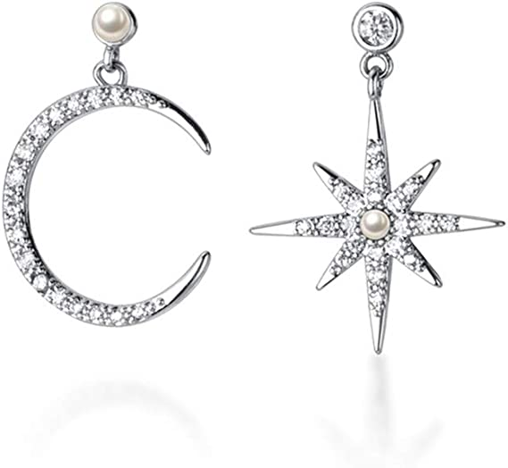 Moon and star s925 sterling silver earrings Valentine/'s Day gift
