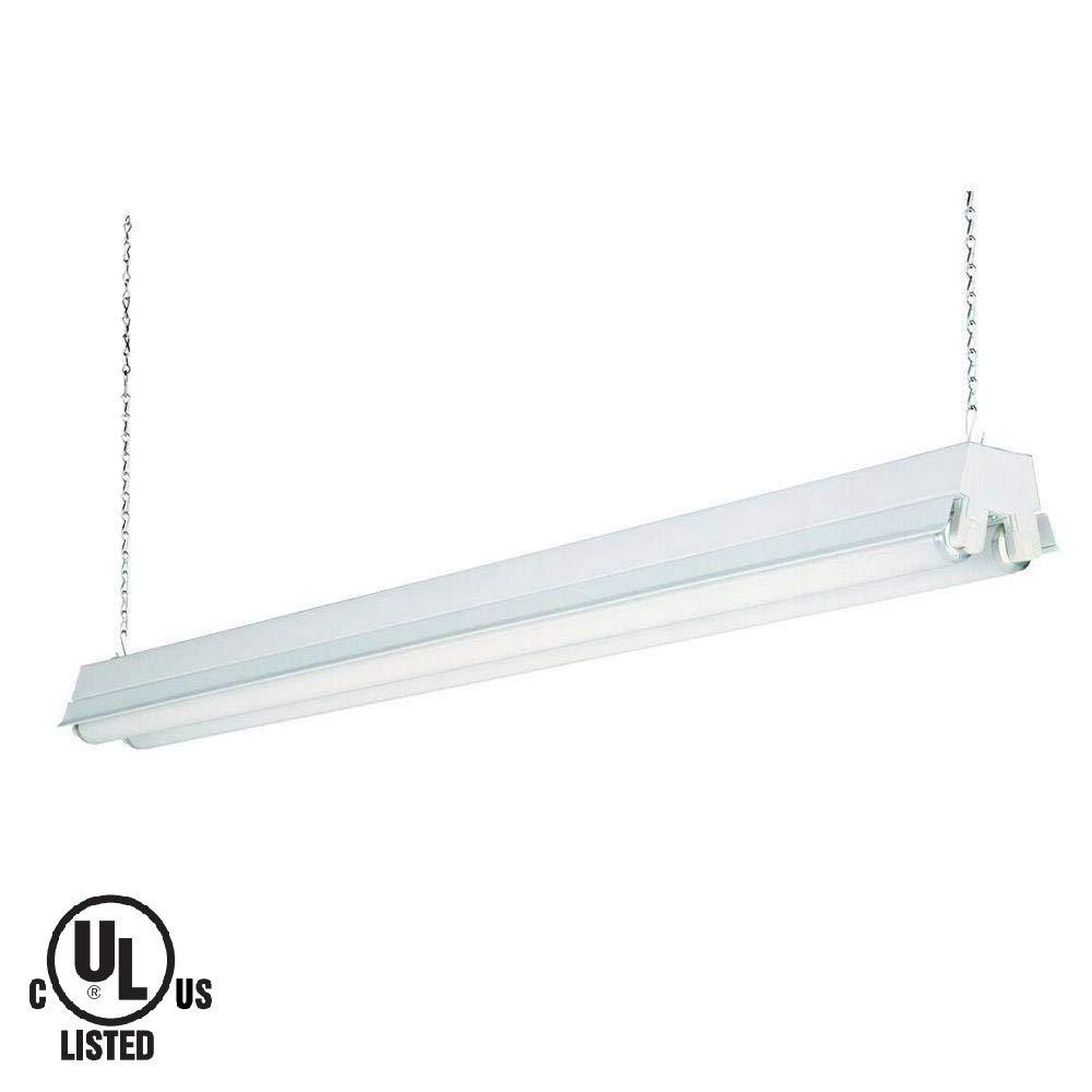 Lithonia lighting 1233 re 2 light t8 fluorescent shop light 120 volts 32 watts damp listed white amazon com