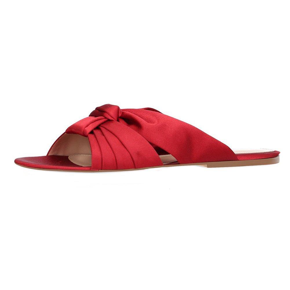 KJJDE Mujer Zapatillas PU Puntera Abierta,TLJ-08011 Sandalias De Dedo del Pie Beach, Red,36 36|Red