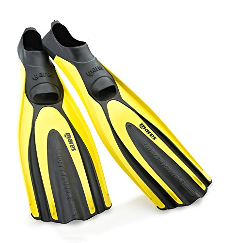 Mares Superchannel Full Foot Scuba Fins, 6.5/7.5, Yellow