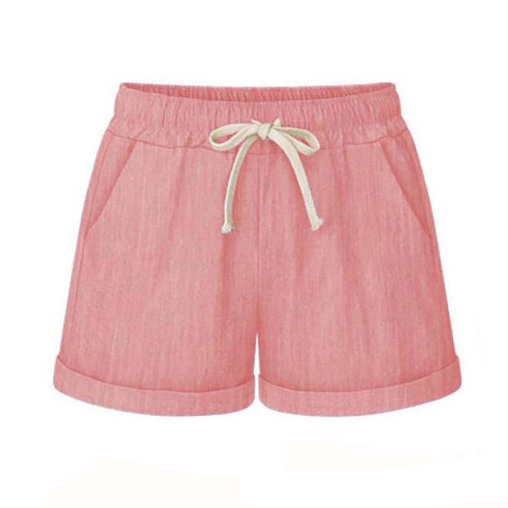 Leinen Shorts Damen Sommer Kurze Hosen Frauen Hot Pants High Waist Lose Stretch Beach Shorts Gro/ße Gr/ö/ßen