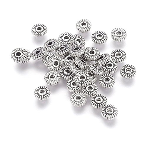 Pandahall 200pcs Tibetan Antique Silver Flat Round Spacer Beads 5mm Lead Free & Cadmium Free for DIY Jewelry Craft Making