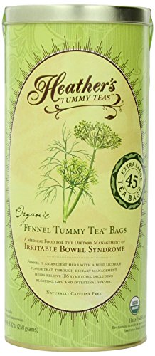 Heather's Tummy Teas Organic Fennel Tea for IBS, 45 Jumbo Teabags