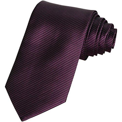 KissTies Mens Plum Purple Tie Striped Wedding Necktie + Gift Box