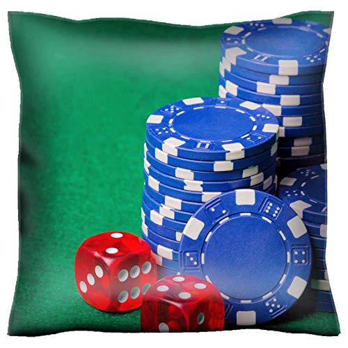 MSD Handmade 28X28 Throw Pillow case Polyester Satin Pillowcase Decorative Soft Pillow Covers Protector Sofa Bed Couch Image ID 24878184 heap of Blue Poker Chips and red Cubes on The Green Table
