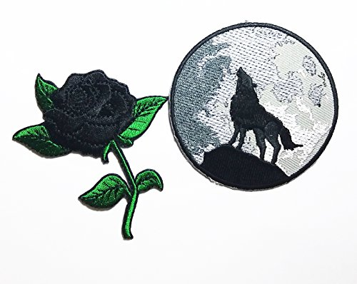 No Sew Indian Costume (PP patch Set 2 Black Rose Flower patch , WOLF HOWLING patch DIY Applique Embroidery Iron on Patch)