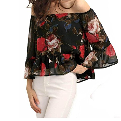 Blouses,Toraway Women Floral Off Shoulder Long Sleeve Chiffon Shirt Casual Top