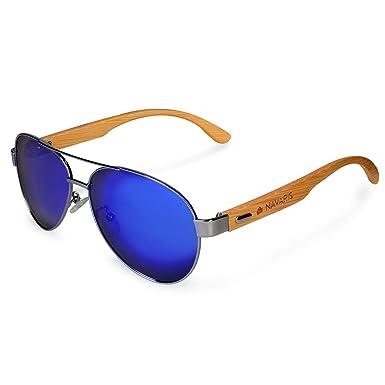 931fedf436 Navaris Pilot Style UV400 Bamboo Sunglasses - Unisex Wooden Optics Glasses  - Classic Wood Shades Women Men - Eyewear with Case Polarized Lenses  ...
