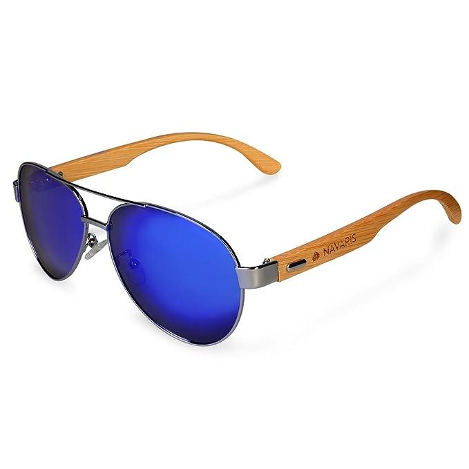 9f705e33b403 Navaris Pilot Style UV400 Bamboo Sunglasses - Unisex Wooden Optics Glasses  - Classic Wood Shades Women Men - Eyewear with Case Polarized Lenses  ...