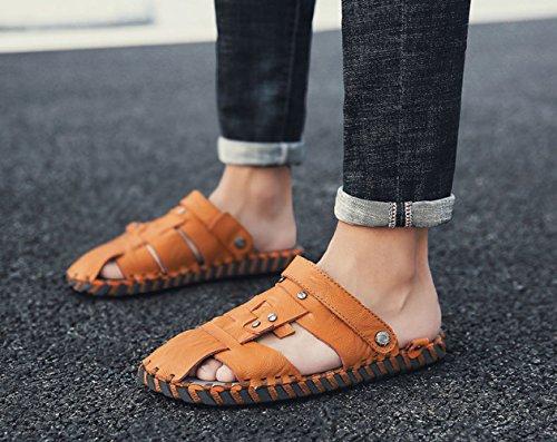 delle Brown di Traspiranti da degli Spiaggia Uomini Estate Pantofole Scarpe della Casuali Piattaforma dei LEDLFIE Sandali cCSIOZq5