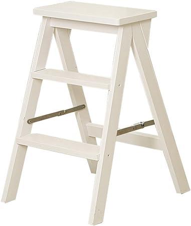 LIXIONG Escalera Plegable Taburete Multifuncional para Silla Escalera 3 escalones, Madera, 60 cm de Altura, 2 Colores (Color : Blanco): Amazon.es: Hogar