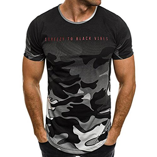 (Mens T Shirts Charberry Fashion Personality Camouflage Men's Casual Slim Short-Sleeved Shirt Top Blouse Breezy to Black Vibes Print Short T Shirt (US-L/CN-XL, Gray))