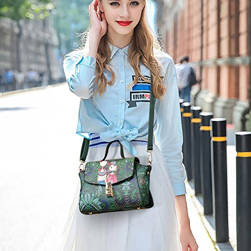 Messenger Vintage Print Faux Handbag Bag Green Catnew Mini Leather Shoulder Women's Cartoon OaxOqwB4