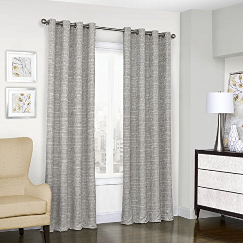 Eclipse Trevi Classic Grommet Single Window Curtain Panel, 52″ x 108″, Grey Review