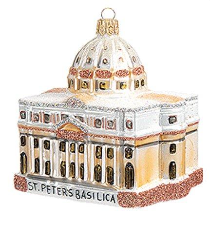 (Saint Peter's Basilica Cathedral Vatican Rome Italy Polish Glass Christmas Ornament Travel Souvenir)