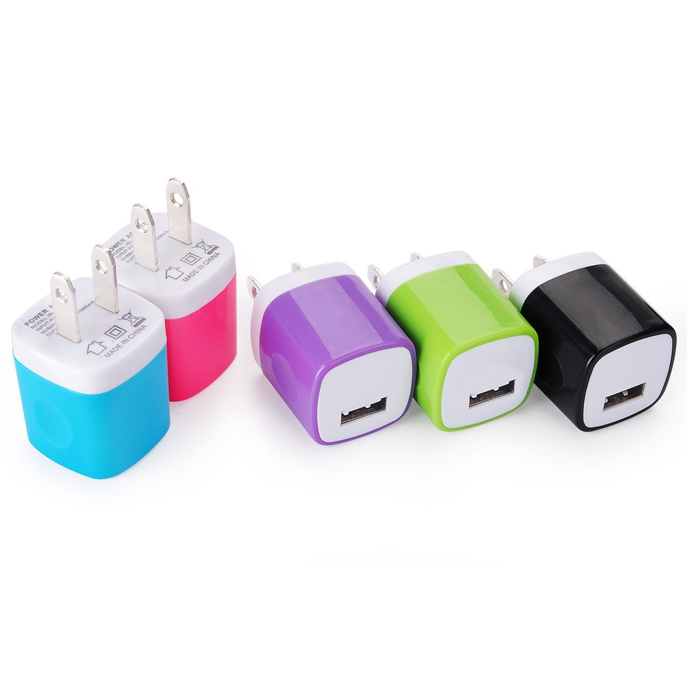 Wall Charger, Kakaly 5-Pack Universal Home Travel USB 1 Amp Wall Charger AC Power Charging Adapter Plug for iPhone 7/6/6S Plus, 4, 5S Samsung Galaxy, HTC, LG, Huawei, Google Nexus, and Android Phones