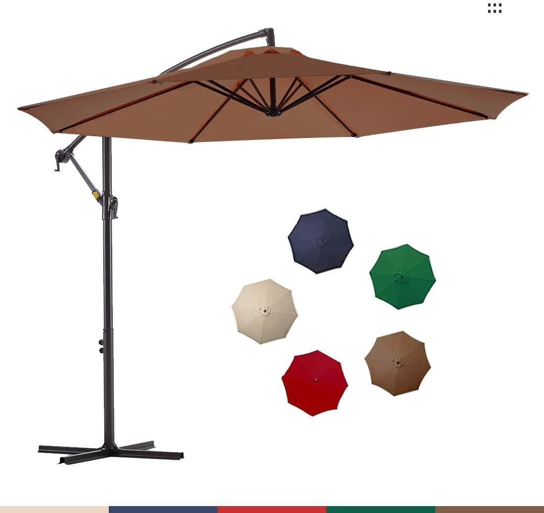 Le Conte Offset Umbrella 10ft Cantilever Patio Hanging Umbrella Outdoor Market Umbrellas with Crank Cross Base Wood