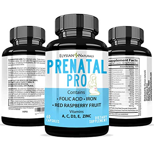 Prenatal Pro Multivitamin - Essential Nutrition for Mom and Baby, Daily Vitamin and Mineral Supplement, Folic Acid, Red Raspberry Fruit Iron, Vegetarian - 60 Capsules