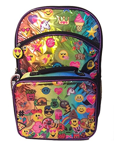 Emojination Girls Rainbow Purple 16 Inch Backpack with Detachable Lunch Bag