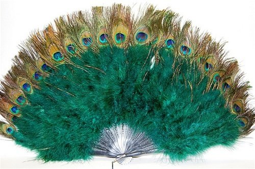 [Marabou Feather Fan w/ Peacock - HUNTER GREEN 24