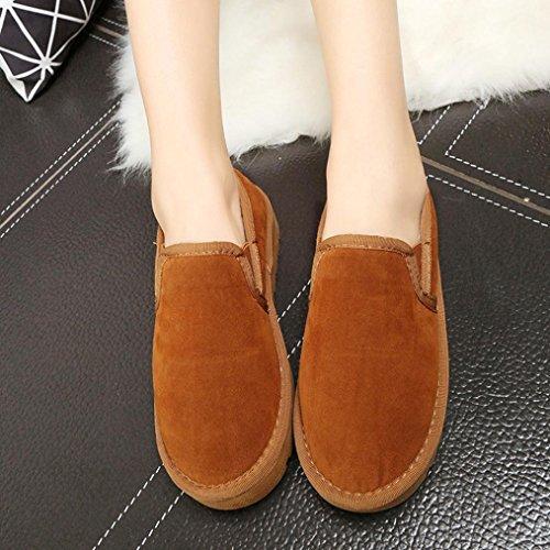 Botas Mujer,Ouneed ®Moda Mujer Botas de nieve de gran tamaño Piel de tobillo plano forrado zapatos Zapatos perezoso marrón