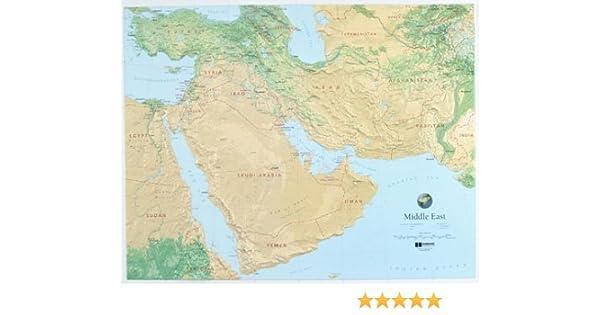 Oriente Medio mapa en relieve con negro marco de plástico: Hubbard ...