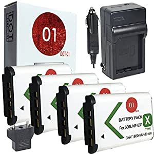4x DOT-01 Brand 1800 mAh Replacement Sony NP-BX1 Batteries and Charger for Sony DSC-HX50V Digital Camera and Sony BX1
