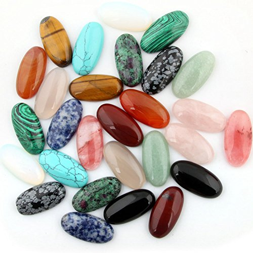 Cabochon Oval Teardrop Stone Gems Beads Mutilcolor 12pcs 30x15mm CAB Healing Crystal Quartz Chakra Random Wholesale for Necklace Jewelry Making