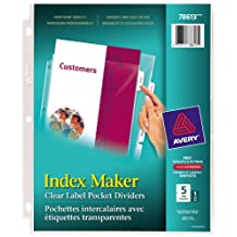 Avery Index Maker Clear Label View Dividers, 5 tabs, Clear, 1 Set, (78613)