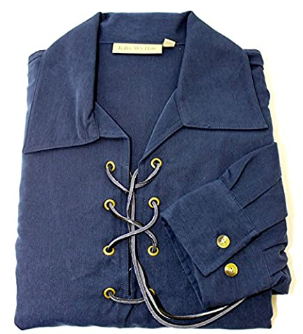 Deluxe Jacobite Jacobean Ghillie Shirt - Navy Blue. Own Brand. 7 Sizes Available - Deluxe Blue Shirt