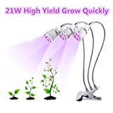 LED Grow Light, Triple Head Plant Desk Clip Light, 21W High Yield Plant Grow Lamp with 360 Degree Flexible Gooseneck and 3 Separate Switches for Indoor Plant Hydroponics Greenhouse, Office